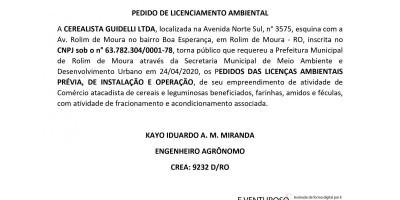 PEDIDO DE LICENCIAMENTO AMBIENTAL - CEREALISTA GUIDELLI LTDA
