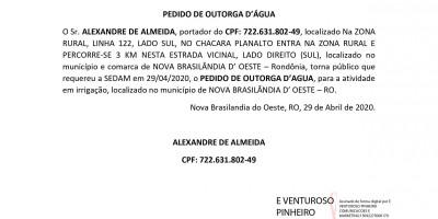 PEDIDO DE OUTORGA D'ÁGUA - ALEXANDRE DE ALMEIDA