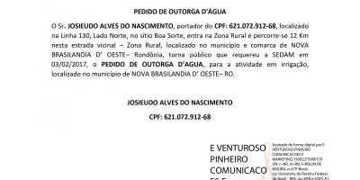 PEDIDO DE OUTORGA D'ÁGUA - JOSIEUDO ALVES DO NASCIMENTO