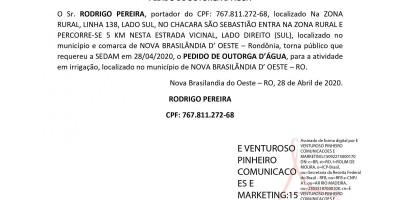 PEDIDO DE OUTORGA D'ÁGUA - RODRIGO PEREIRA