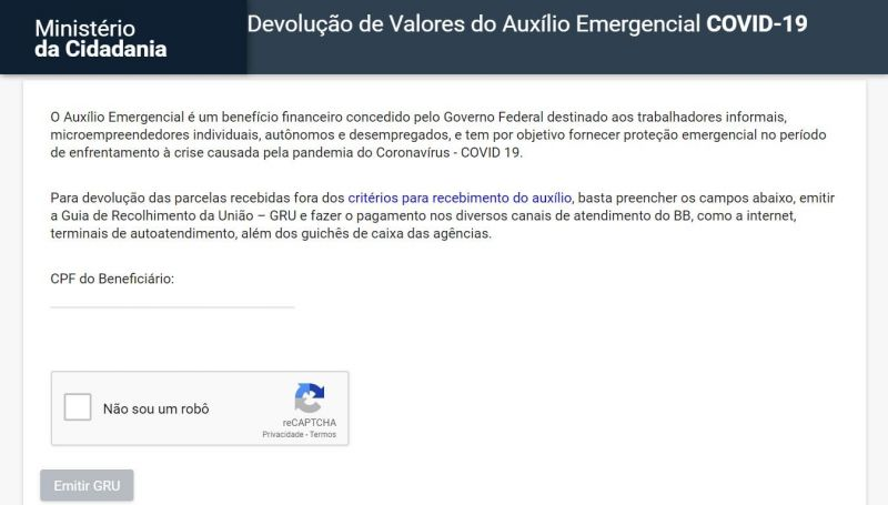 Governo lança site para devolução de auxílio emergencial recebido de forma indevida