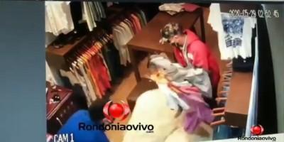 Ladrões são flagrados fazendo arrastão em loja de Porto Velho