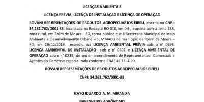 LP - LI e LO. - ROVANI REPRESENTAÇÕES DE PRODUTOS AGROPECUARIOS EIRELI