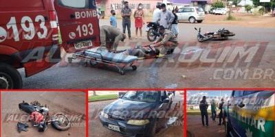 Motociclista inabilitado tem fratura na perna após colidir com carro em Rolim de Moura