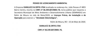 PEDIDO DE LICENCIAMENTO AMBIENTAL - DANILUCCI & ORTIS LTDA