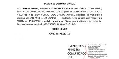 PEDIDO DE OUTORGA D'ÁGUA - KLEBER CUNHA