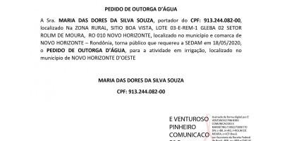 PEDIDO DE OUTORGA D'ÁGUA - MARIA DAS DORES DA SILVA SOUZA