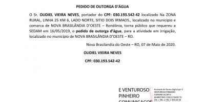 PEDIDO DE OUTORGA D'ÁGUA - OLIDIEL VIEIRA NEVES