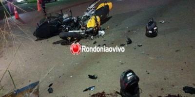 Três pessoas ficam em estado grave após violento acidente entre motos em Porto Velho