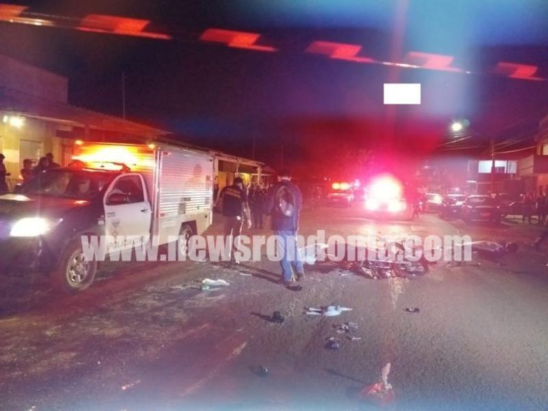 Grave colisão entre duas motocicletas deixa dois mortos e criança de 9 anos em estado grave em Porto Velho