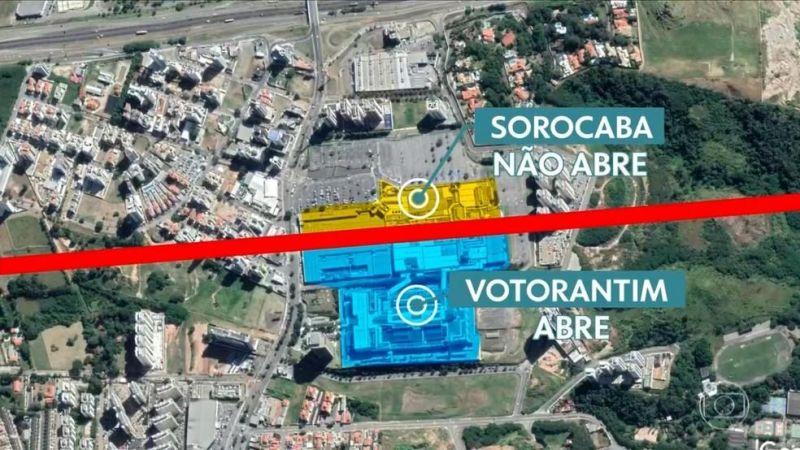 Bizarro: Shopping construído na divisa entre duas cidades em SP fica