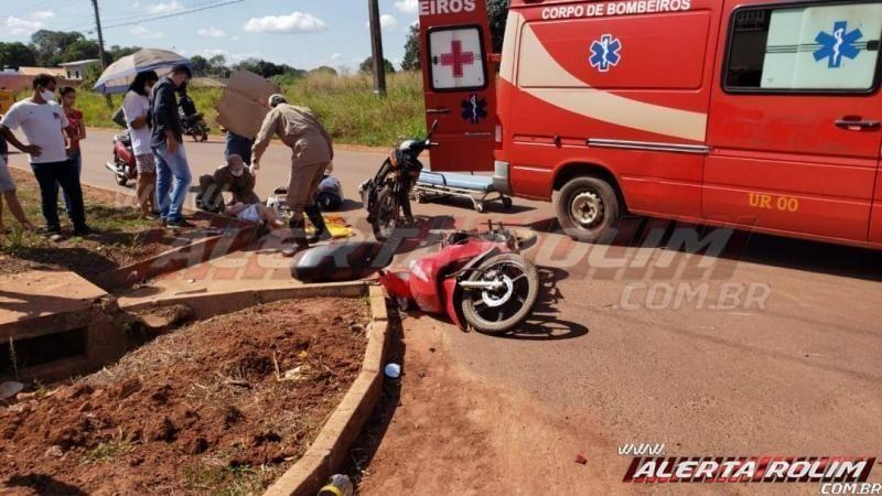 Colisão entre motos na Rua Parnaíba resulta em dois feridos em Rolim de Moura