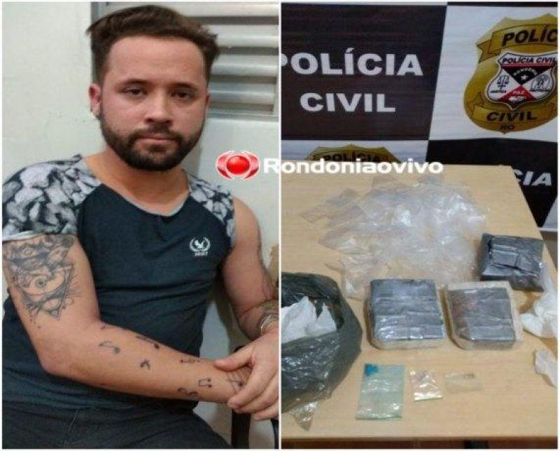Traficante é preso com cocaína, ecstasy e LSD em hotel de Porto Velho