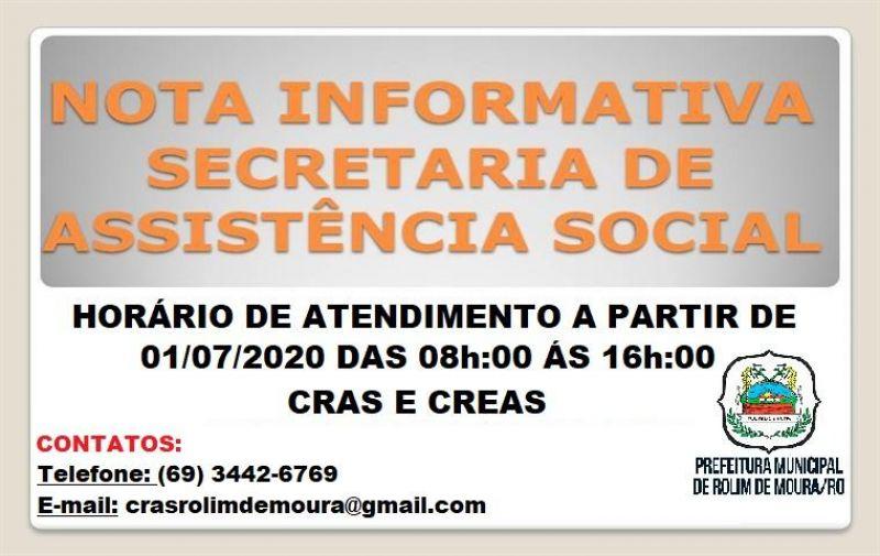 Prefeitura de Rolim de Moura informa que CRAS e CREAS passa funcionar em novo horário