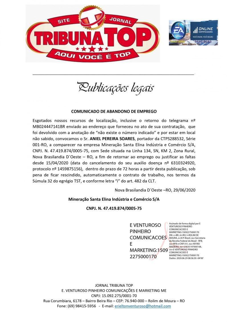 COMUNICADO DE ABANDONO DE EMPREGO - MINERAÇÃO SANTA ELINA