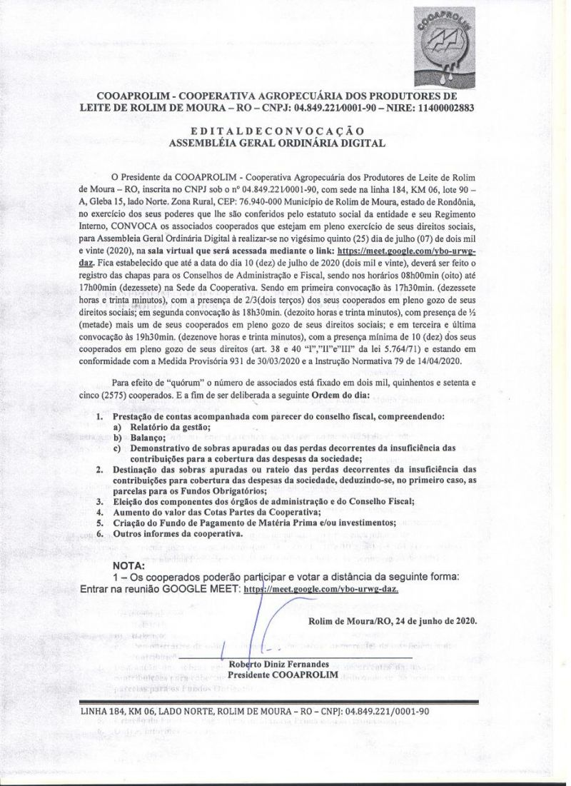 EDITAL DE CONVOCAÇÃO - COOAPROLIM