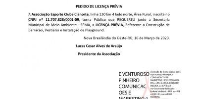 PEDIDO DE LICENÇA PRÉVIA - Associação Esporte Clube Cianorte