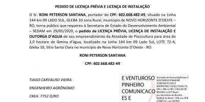 PEDIDO DE LICENÇA PRÉVIA E LICENÇA DE INSTALAÇÃO E OUTORGA - RONI PETERSON SANTANA
