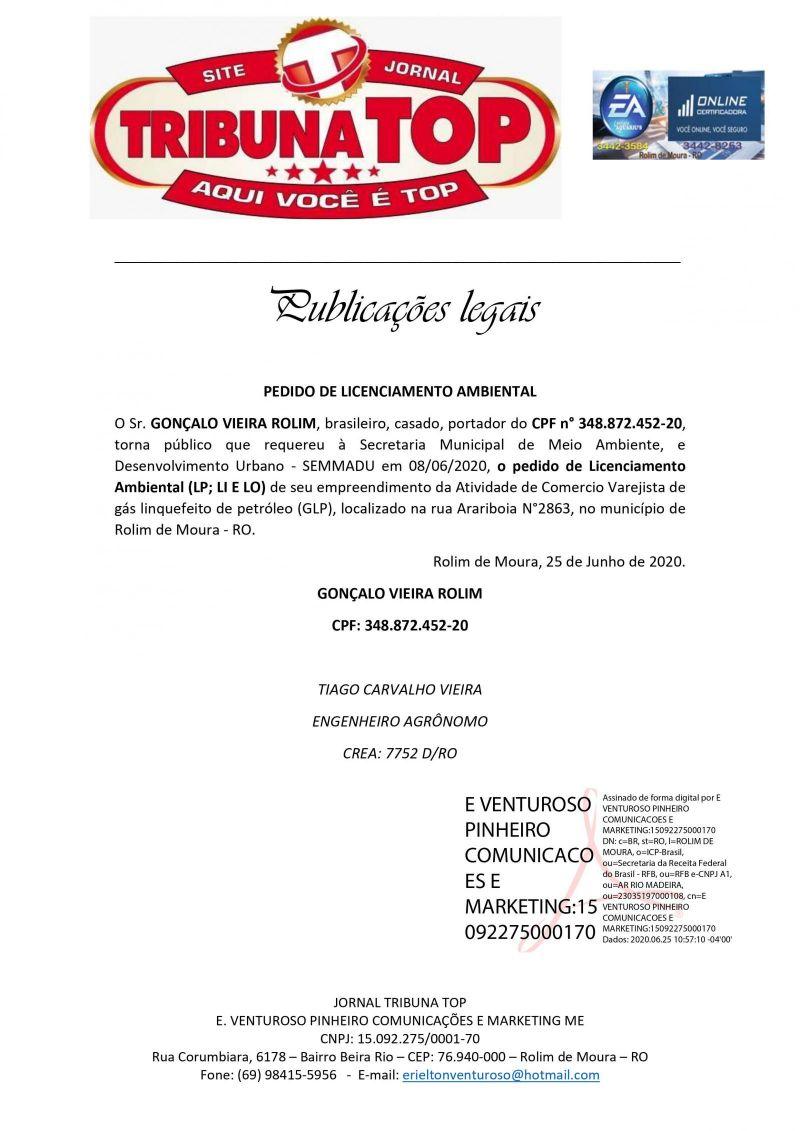 PEDIDO DE LICENCIAMENTO AMBIENTAL - GONÇALO VIEIRA ROLIM