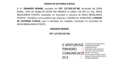 PEDIDO DE OUTORGA D'ÁGUA - ERNANDO BENING