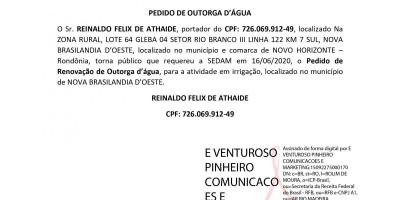 PEDIDO DE OUTORGA D'ÁGUA - REINALDO FELIX DE ATHAIDE