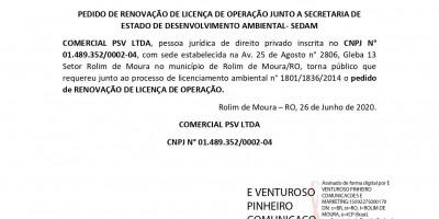 PEDIDO DE RENOVAÇÃO DE LICENÇA DE OPERAÇÃO - COMERCIAL PSV LTDA