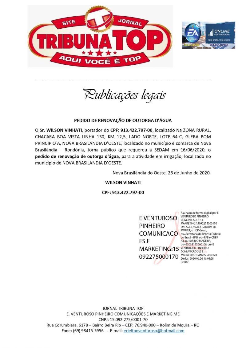 PEDIDO DE RENOVAÇÃO DE OUTORGA D'ÁGUA - WILSON VINHATI