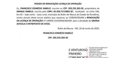 PEDIDO DE RENOVAÇÃO LICENÇA DE OPERAÇÃO - FRANCISCO EDIMÉZIO RABELO
