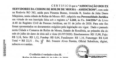 ATA DE CONSTITUIÇÃO: ASSOCIAÇÃO DO EX SERVIDORES DA CERON DE ROLIM DE MOURA.