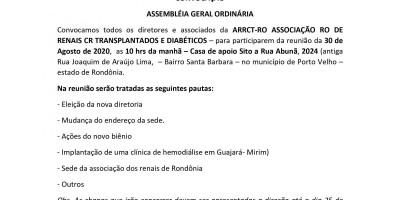 CONVOCAÇÃO ASSEMBLÉIA GERAL ORDINÁRIA - ARRCT - RO