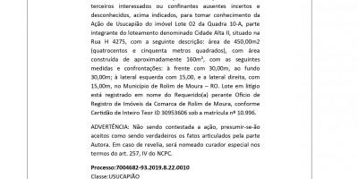 EDITAL DE CITAÇÃO - TERCEIROS E INTERESSADOS