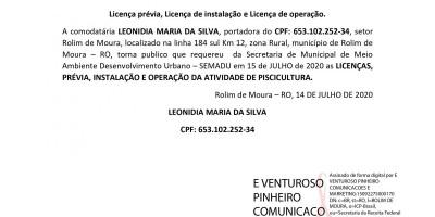 Licença prévia, Licença de instalação e Licença de operação - LEONIDIA MARIA DA...