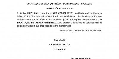 SOLICITAÇÃO DE LICENÇAS PRÉVIA - DE INSTALAÇÃO - OPERAÇÃO  AGROINDÚSTRIA DE POLPA