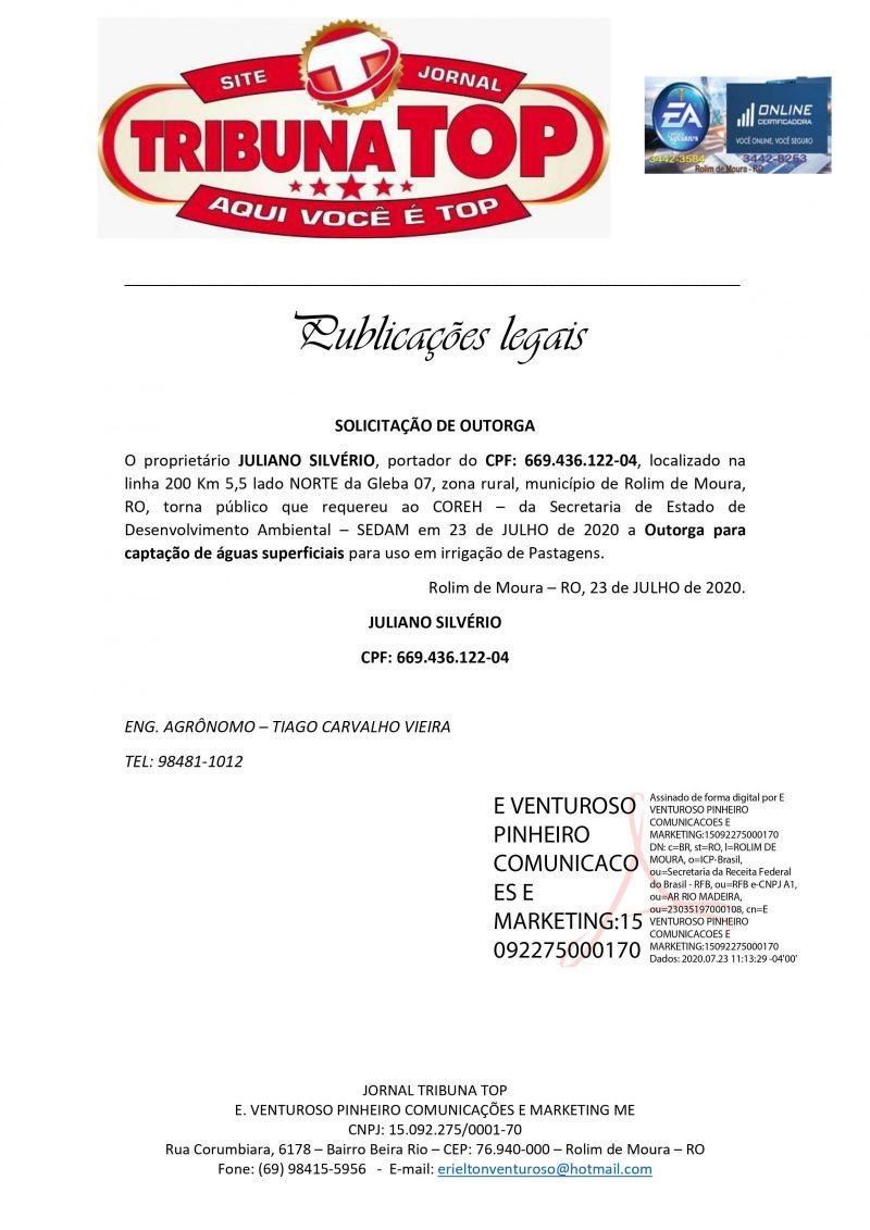 SOLICITAÇÃO DE OUTORGA - JULIANO SILVÉRIO