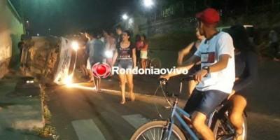 Carro capota com cinco pessoas após acidente em cruzamento em Porto Velho