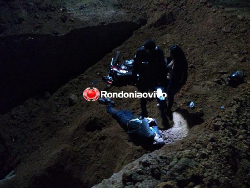 Buraco aberto pela prefeitura em avenida de Porto Velho causa grave acidente com casal em moto