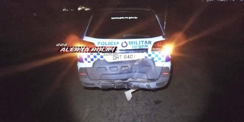 Motorista embriagado colide na traseira da viatura da Polícia Militar na RO-010, em Rolim de Moura