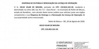 DISPENSA DE OUTORGA E RENOVAÇÃO DA LICENÇA DE OPERAÇÃO - HELIO VILAR DE MOURA