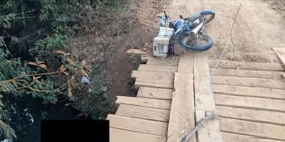 Motociclista morre afogado após cair de ponte na zona rural de Vale do Paraíso