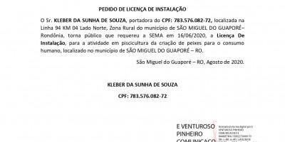 PEDIDO DE LICENÇA DE INSTALAÇÃO - KLEBER DA SUNHA DE SOUZA