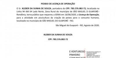 PEDIDO DE LICENÇA DE OPERAÇÃO - KLEBER DA SUNHA DE SOUZA