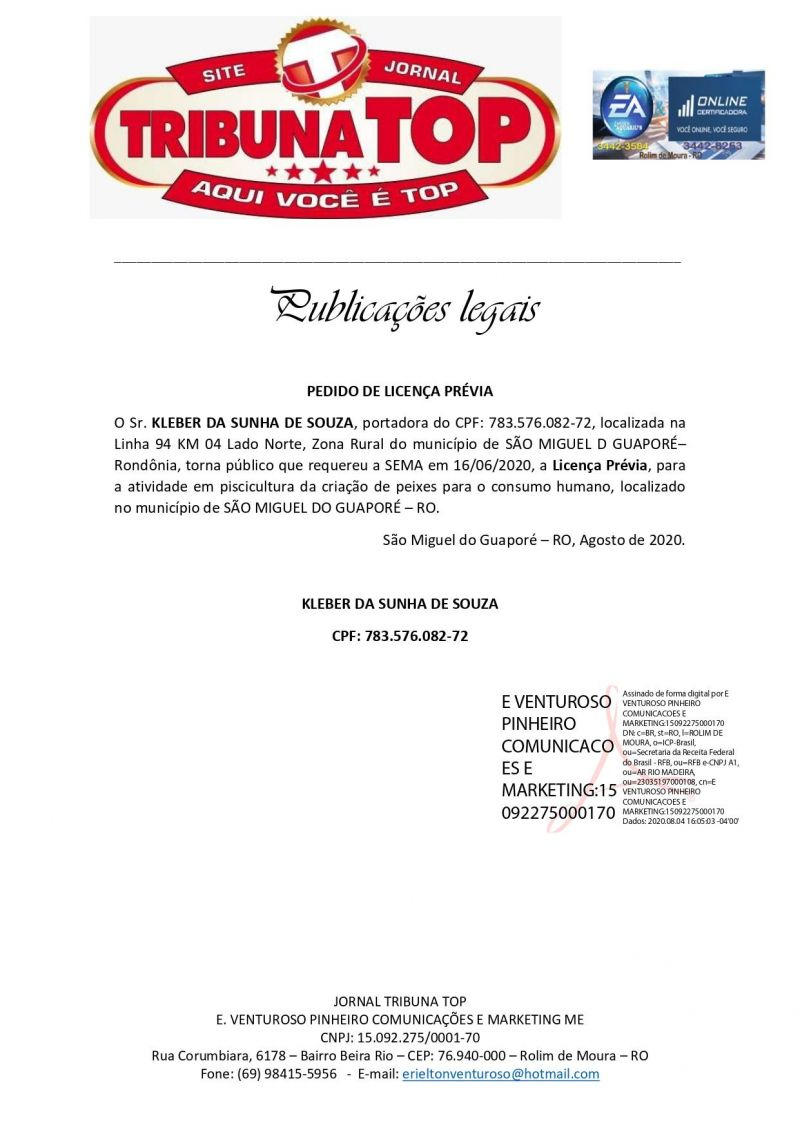 PEDIDO DE LICENÇA PRÉVIA - KLEBER DA SUNHA DE SOUZA