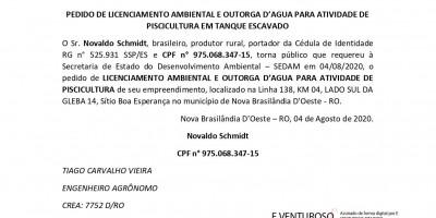 PEDIDO DE LICENCIAMENTO AMBIENTAL E OUTORGA D'AGUA PARA ATIVIDADE DE PISCICULTURA EM...