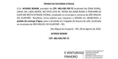 PEDIDO DE OUTORGA D'ÁGUA - AFONSO BONIM