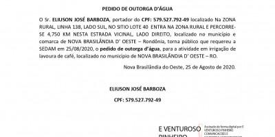 PEDIDO DE OUTORGA D'ÁGUA - ELIUSON JOSÉ BARBOZA