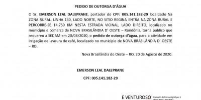 PEDIDO DE OUTORGA D'ÁGUA - EMERSON LEAL DALEPRANE