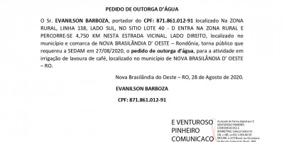 PEDIDO DE OUTORGA D'ÁGUA - EVANILSON BARBOZA