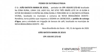 PEDIDO DE OUTORGA D'ÁGUA - JOÃO BATISTA MARIA DE JESUS