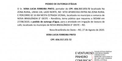 PEDIDO DE OUTORGA D'ÁGUA - VERA LUCIA FERREIRA PINTO