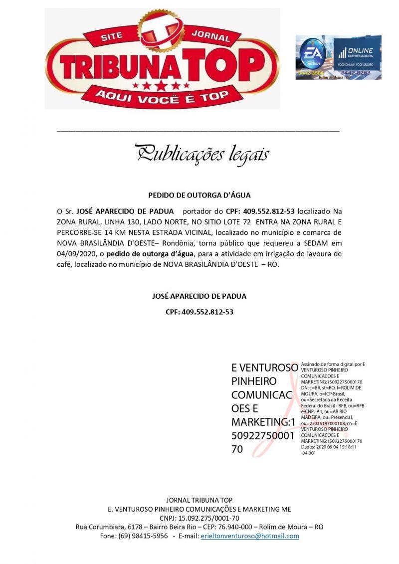 PEDIDO DE OUTORGA D'ÁGUA - JOSÉ APARECIDO DE PADUA
